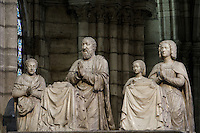 Praying figures (the king, the queen and their children), Funerary Monument of Francois I (1494 - 1547) and Claude of France (1499 - 1524), 1548 - 1570, marble, by Pierre Bontemps, commissionned by Henry II, Abbey church of Saint Denis, Seine Saint Denis, France. Picture by Manuel Cohen