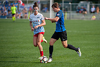 Kansas City, MO - Saturday September 9, 2017: Arin Gilliland, Becca Moros during a regular season National Women's Soccer League (NWSL) match between FC Kansas City and the Chicago Red Stars at Children's Mercy Victory Field.