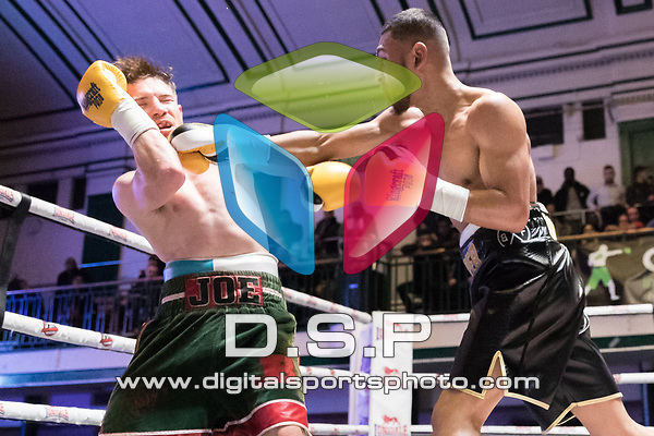 Youssef Khoumari vs Joe Beedon 4x3 - Lightweight Contest During Goodwin Boxing - Summit. Photo by: Simon Downing.<br /> <br /> Saturday December 2nd 2017 - York Hall, Bethnal Green, London, United Kingdom.