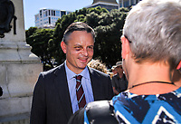 Green Party co-leader James Shaw. Semi-automatic weapons ban and firearms advertising regulation petitions at Parliament in Wellington, New Zealand on Thursday, 21 March 2019. Photo: Dave Lintott / lintottphoto.co.nz