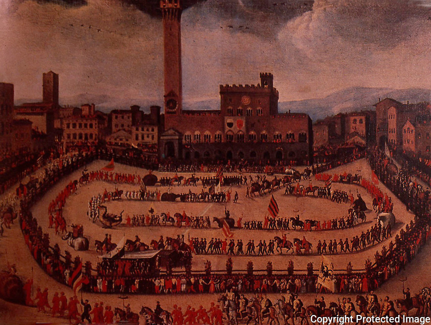 Siena:  Piazza Del Campo--a view of the parade in the Piazza, early 19th century.  Piero Bagellini, Florence the Magnificent, A History, Vol.  III, 1904: 1980.  Reference only.