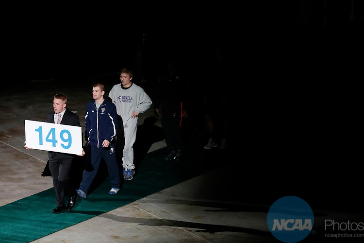 LA CROSSE, WI - MARCH 11:  The 149-pound weight class takes the stage during the Division III Men's Wrestling Championship held at the La Crosse Center on March 11, 2017 in La Crosse, Wisconsin. (Photo by Carlos Gonzalez/NCAA Photos via Getty Images)
