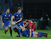 29th September 2017, RDS Arena, Dublin, Ireland; Guinness Pro14 Rugby, Leinster Rugby versus Edinburgh; Luke McGrath (Leinster) passes the ball