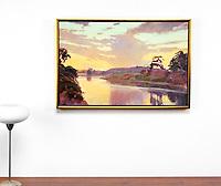 """Burtt: Dusk Over Goleta Slough, Digital Print, , Framed Dims. 25.5"""" x 28.5""""x 2"""""""