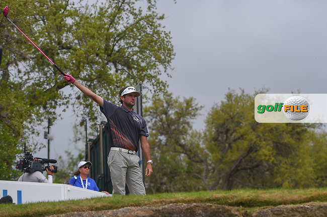 Bubba Watson (USA) signals left on his tee shot on 12 during day 5 of the World Golf Championships, Dell Match Play, Austin Country Club, Austin, Texas. 3/25/2018.<br /> Picture: Golffile | Ken Murray<br /> <br /> <br /> All photo usage must carry mandatory copyright credit (© Golffile | Ken Murray)