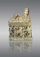 Etruscan Hellenistic style cinerary, funreary, urn , with a chariot, inv 5704,  National Archaeological Museum Florence, Italy , against grey