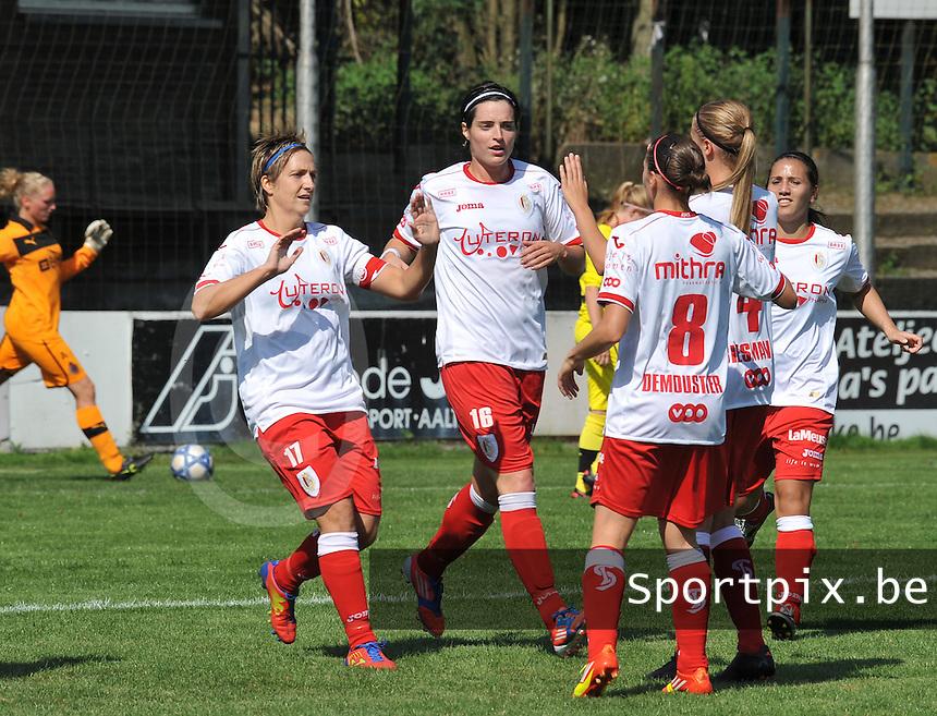 Club Brugge Dames - Standard Femina de Liege : vreugde bij Maud Coutereels en Cecile De Gernier na de 0-1.foto JOKE VUYLSTEKE / Vrouwenteam.be