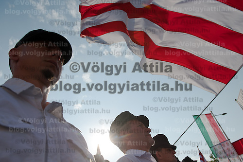 Participants on a political gathering of Hungarian far-right political party Jobbik to celebrate the fourth anniversary of their paramilitary group Hungarian Guard (or Magyar Garda in Hungarian) in Budapest, Hungary on August 28, 2011. ATTILA VOLGYI