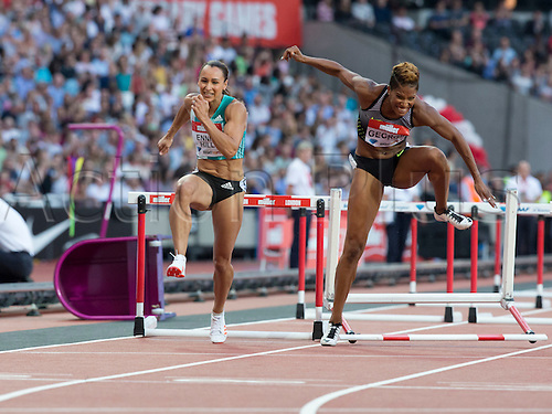 22.07.2016. Queen Elizabeth Park, London, England. London Anniversary Athletics. Jessica Ennis-Hill (GBR) reigning Olympic and World Heptathlon Champion competing in the Women's 100m Hurdles as Phylicia George (CAN) faulters on the last hurdle, 2016 IAAF London Anniversary Games.