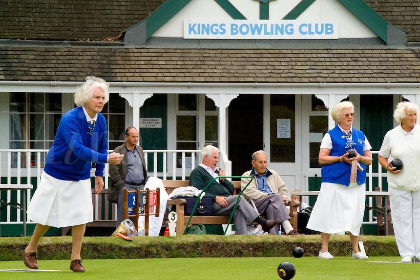 Women lawn bowling at the Kings Bowling Club, Torquay, England, (Devon)