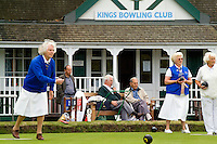 Women lawn bowling at the Kings Bowling Club, Torquay, England, (Devon)
