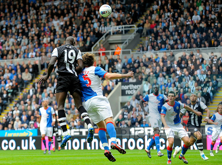 Demba Ba of Newcastle United scores his side's third goal during the Premier League football match between Newcastle United and Blackburn Rovers on 24 September, 2011, at St. James' Park, Newcastle upon Tyne, England. Photo Credit: SPORTIMAGE/RICHARD LEE