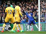 Chelsea's Eden Hazard celebrates with goalscorer Cesc Fabregas during the Premier League match at the Stamford Bridge Stadium, London. Picture date: April 1st, 2017. Pic credit should read: David Klein/Sportimage via PA Images