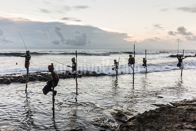 Sri Lanka, dec 2015. Fisherman and beach life at Weligama in the south region.