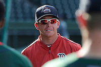 Manager Darren Fenster (3) of the Greenville Drive during a preseason workout on  Wednesday, April 8, 2015, the day before Opening Day, at Fluor Field at the West End in Greenville, South Carolina. (Tom Priddy/Four Seam Images)