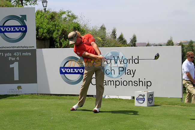 Miguel Angel Jimenez (ESP) teeing off on the 1st tee during Day 1 of the Volvo World Match Play Championship in Finca Cortesin, Casares, Spain, 19th May 2011. (Photo Eoin Clarke/Golffile 2011)