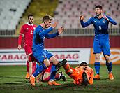 27th March 2018, Karadjorde Stadium, Novi Sad, Serbia; Under 21 International Football Friendly, Serbia U21 versus Italy U21; Forward Luca Vido and Alberto Cerri of Italy are intercepted by goalie Manojlovic
