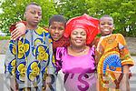Pictured at Africa day in Presentation Primary, Tralee on Saturday were l-r: Ade Obadila David Oba, Theresa Elumelu, Elbasic Falade..