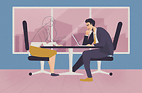 Businessman with laptop and transparent businesswoman sitting at desk