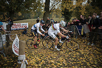 World Champion Wout Van Aert (BEL/Crelan-Vastgoedservice) leading up the Koppenberg ahead of fresh European Champion Toon Aerts (BEL/Telenet-Fidea)<br /> <br /> 25th Koppenbergcross 2016