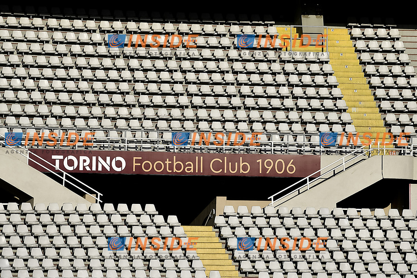 Empty stands with a banner reading Torino Football club are seen during the Serie A football match between Torino FC and Udinese at Olimpico stadium in Torino ( Italy ), June 23th, 2020. Play resumes behind closed doors following the outbreak of the coronavirus disease. <br /> Photo Image Sport / Insidefoto