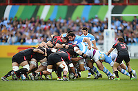 The front rows pop up at a scrum. Rugby World Cup Pool C match between Argentina and Georgia on September 25, 2015 at Kingsholm Stadium in Gloucester, England. Photo by: Patrick Khachfe / Onside Images