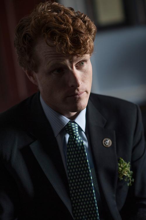 UNITED STATES - MARCH 17: Rep. Joe Kennedy, D-Mass., and his intern Jennifer Fox, off camera, are interviewed about how the Affordable Care Act helped cover her medical bills, March 17, 2017. She was treated for Hodgkin's lymphoma and has been cancer free for 4 years. (Photo By Tom Williams/CQ Roll Call)