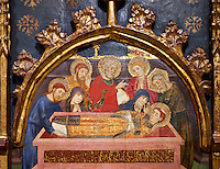 Gothic painted Panel Altarpiece of Saint Stephen by  Jaume Serra. Tempera, gold leaf and metal plate on wood. Circa 1385. Dimensions 185.7 x 186.5 x 11 cm. From the monastery of Santa Maria de Gualter (Noguera).. National Museum of Catalan Art, Barcelona, Spain, inv no: 003947-CJT