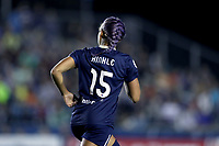 Cary, North Carolina  - Saturday September 30, 2017: Jaelene Hinkle shows off her new purple hair during a regular season National Women's Soccer League (NWSL) match between the North Carolina Courage and the Orlando Pride at Sahlen's Stadium at WakeMed Soccer Park. Orlando won the game 3-2.