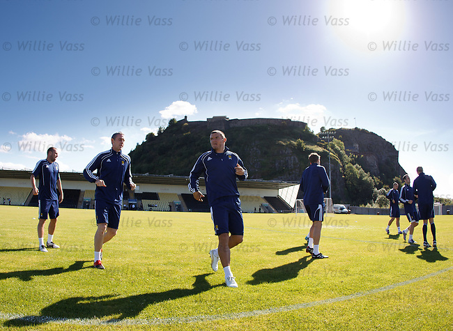 Scotland training in the shadow of Dumbarton rock