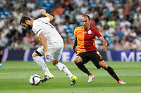 Real Madrid´s Nacho (L) and Galatasaray´s Umut Bulut during Santiago Bernabeu Trophy match at Santiago Bernabeu stadium in Madrid, Spain. August 18, 2015. (ALTERPHOTOS/Victor Blanco)