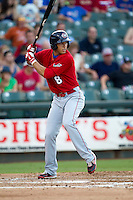 Oklahoma City RedHawks outfielder George Springer (8) at bat during the Pacific Coast League baseball game against the Round Rock Express on July 9, 2013 at the Dell Diamond in Round Rock, Texas. Round Rock defeated Oklahoma City 11-8. (Andrew Woolley/Four Seam Images)