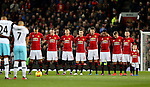 West Ham and Manchester Utd hold a minutes silence in respect for the Chapecoense football team plane crash in Columbia during the English League Cup Quarter Final match at Old Trafford  Stadium, Manchester. Picture date: November 30th, 2016. Pic Simon Bellis/Sportimage