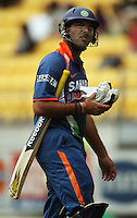 India's Yuvraj Singh walks off the pitch after being dismissed for a duck during the 2nd ODI cricket match between the New Zealand Black Caps and India at Westpac Stadium, Wellington, New Zealand on Friday, 6 March 2009. Photo: Dave Lintott / lintottphoto.co.nz