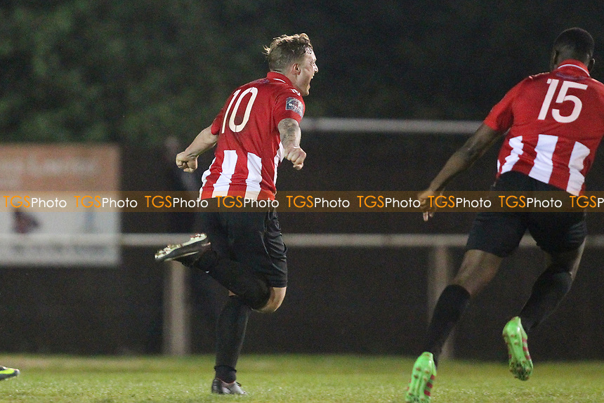 George Purcell of Hornchurch score the winning goal and celebrates during AFC Hornchurch vs Aveley, Bostik League Division 1 North Football at Hornchurch Stadium on 20th April 2018