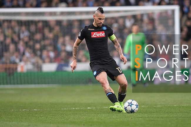 Marek Hamsik of SSC Napoli runs with the ball during the match Real Madrid vs Napoli, part of the 2016-17 UEFA Champions League Round of 16 at the Santiago Bernabeu Stadium on 15 February 2017 in Madrid, Spain. Photo by Diego Gonzalez Souto / Power Sport Images
