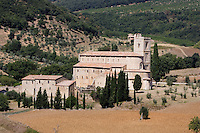 Veduta dell'abbazia di Sant'Antimo.<br /> View of the abbey of Sant'Antimo.<br /> UPDATE IMAGES PRESS/Riccardo De Luca