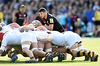 Richard Wigglesworth of Saracens looks to put the ball into a scrum. Aviva Premiership match, between Saracens and Wasps on October 8, 2017 at Allianz Park in London, England. Photo by: Patrick Khachfe / JMP