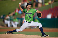 Kane County Cougars starting pitcher Jackson Goddard (12) during a Midwest League game against the Dayton Dragons on July 20, 2019 at Northwestern Medicine Field in Geneva, Illinois.  Dayton defeated Kane County 1-0.  (Mike Janes/Four Seam Images)