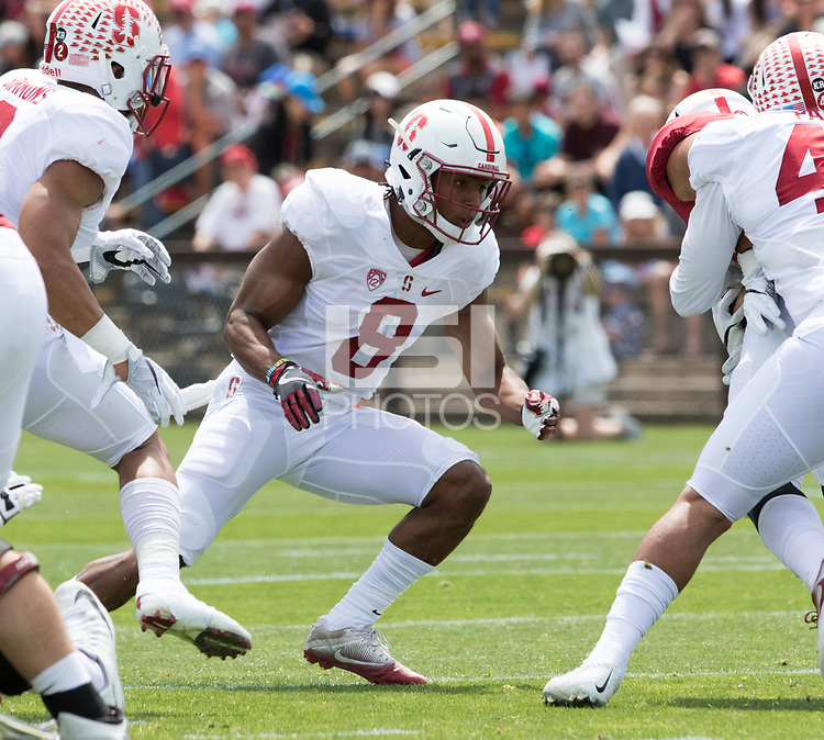 Stanford, CA - April15, 2017:  Justin Reid (8) at Cagan Stadium.