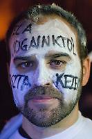 """UNGARN, 11.03.2013. Budapest - I. Bezirk. Am Tag der Verabschiedung des 4. Aenderungspakets zur neuen Verfassung, das effektiv das Ende des Rechtsstaates bedeutet, demonstrieren Studenten und Opposition zu Tausenden auf der Budaer Burg am Amtssitz des Staatspraesidenten János Áder, den sie auffordern, die Aenderung nicht zu unterschreiben. - Die Gruppe """"Saubere Haende"""" fordert """"Finger weg von unseren Rechten"""".   On the day parliament passes the 4th amendment to the new constitution, effectively eliminating the rule of law, thousands of students and outraged citizens demonstrate on the Buda castle hill close to the residence of state president Janos Ader calling upon him not to sign the amendment. - The """"Clean Hands"""" organization asks the government to """"leave our rights alone"""" . © Martin Fejer/EST&OST"""