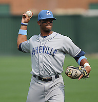 Infielder/second baseman Russell Wilson (3) of the Asheville Tourists, Class A affiliate of the Colorado Rockies, prior to a game against the Greenville Drive on May 1, 2011, at Fluor Field at the West End in Greenville, S.C. Wilson was a fourth-round pick in the 2010 First-Year Player Draft. Photo by Tom Priddy / Four Seam Images