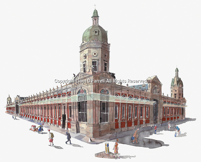 Watercolor painting of Smithfield Market, London