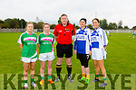 Marguerite Maunsell, Caroline Dillane, Kevin McMahon Nini Long, Siobhan Cushen, before throw in at the  Carmel O'Connor Memorial Shield Mná Na nGaeil v Gardaí charity Match at Na Gaeil  GAA Club on Saturday