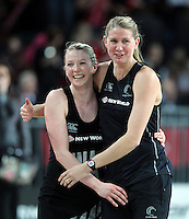 20.09.2012 Silver Ferns Camilla Lees and Casey Williams celebrate during the second netball test match between the Silver Ferns and the Australian Diamonds played at Vector Arena in Auckland. Mandatory Photo Credit ©Michael Bradley.