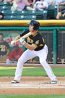 Brennan Boesch (23) of the Salt Lake Bees squares to bunt against the Sacramento River Cats at Smith's Ballpark on June 6, 2014 in Salt Lake City, Utah.  (Stephen Smith/Four Seam Images)