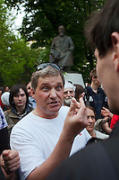 Moscow, Russia, 12/05/2012..Protesters argue among themslves in Chistiye Prudy, or Clean Ponds, a park in central Moscow were some 200 opposition activists have set up camp.