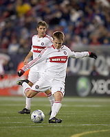 Chicago Fire forward Chris Rolfe (17) lines up a shot. The New England Revolution tied the Chicago Fire, 0-0, at Gillette Stadium on October 17, 2009.