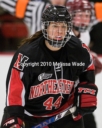 Stephanie Gavronsky (NU - 44) - The Harvard University Crimson defeated the Northeastern University Huskies 1-0 to win the 2010 Beanpot on Tuesday, February 9, 2010 at Bright Hockey Center in Cambridge, Massachusetts.