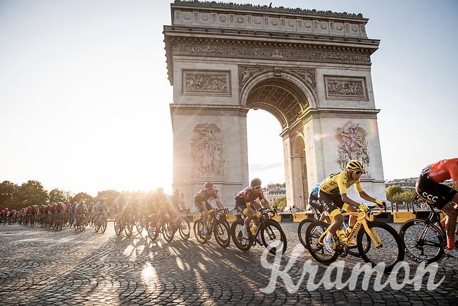 yellow jersey / GC leader Egan Bernal (COL/Ineos) around the Arc de Triomphe on the Champs-Élysées<br /> <br /> Stage 21: Rambouillet to Paris(128km)<br /> 106th Tour de France 2019 (2.UWT)<br /> <br /> ©kramon